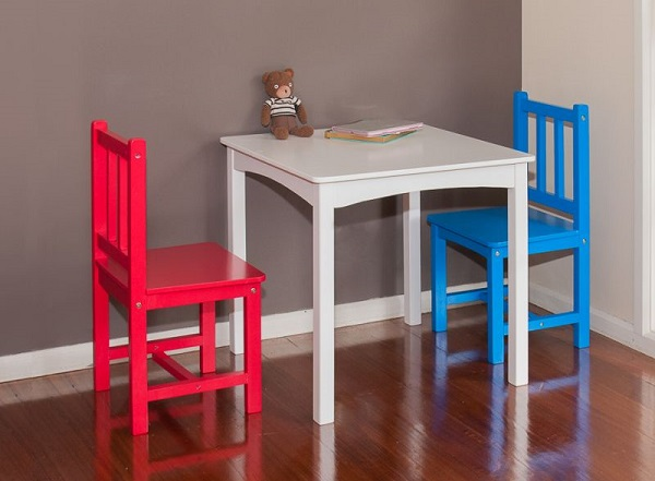 MyDeal - Kids Red & Blue Playroom Wooden Table & Chairs Set