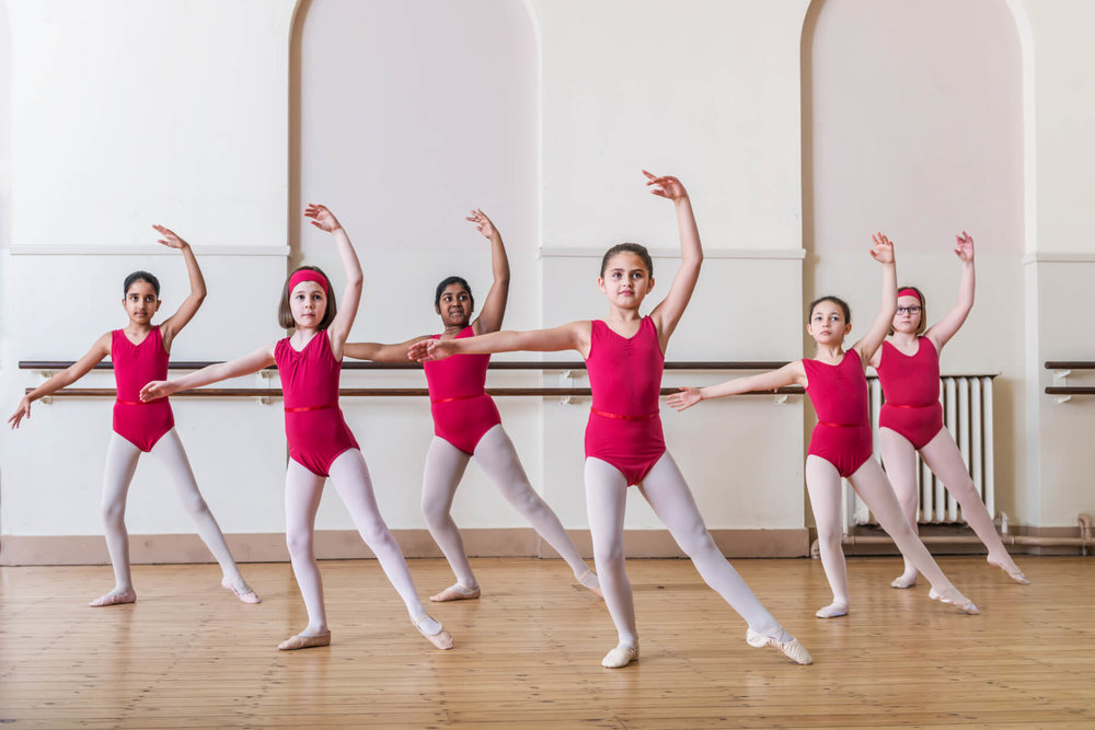 School of dance kids wearing leotards for girls