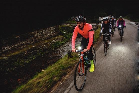 guy biking with lights on