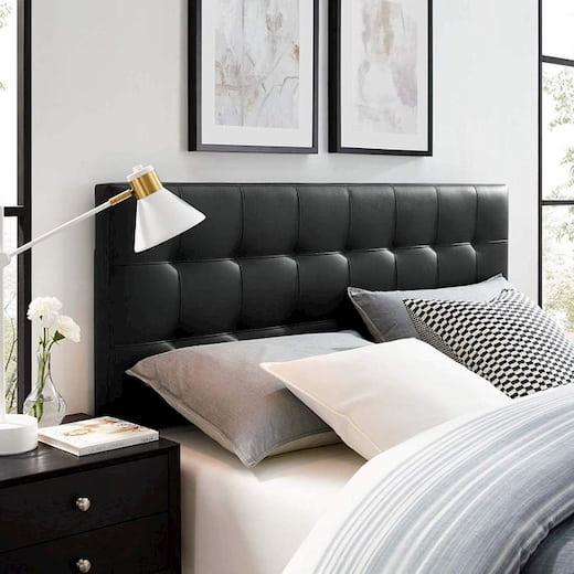 leather black headboard for modern bedroom
