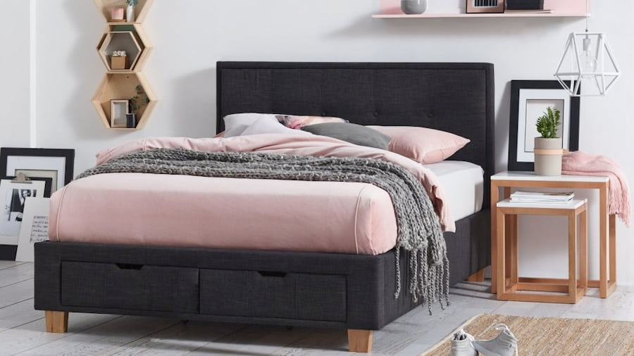 modern bedroom with black and pink details