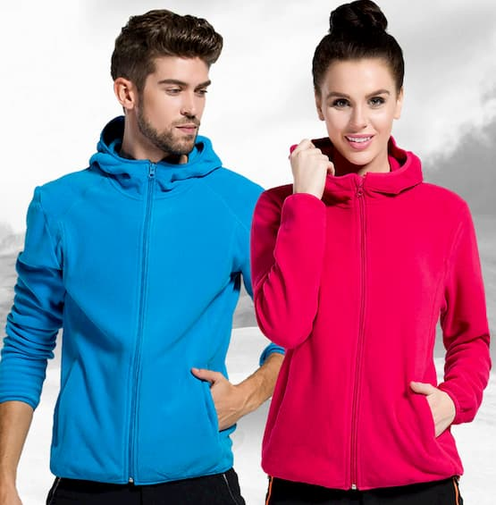 women and man wearing polar fleece