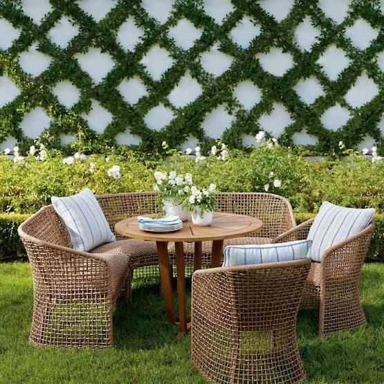 beautiful garden with dining chairs