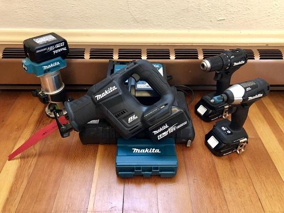 close-up of makita power tools