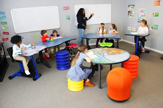 students seating on ergo stools
