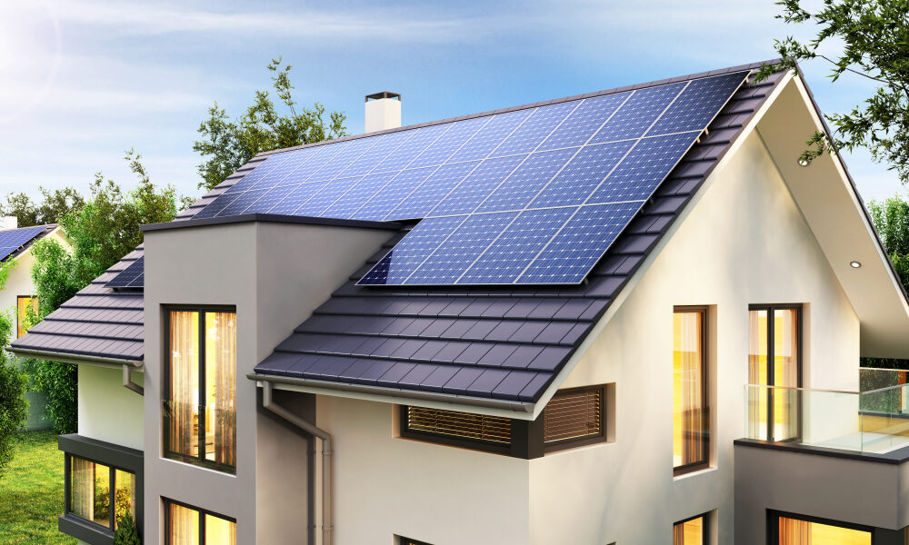 off grid solar system on a house